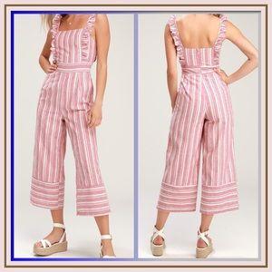 Emilia Rae Striped Ruffle Culotte Jumpsuit
